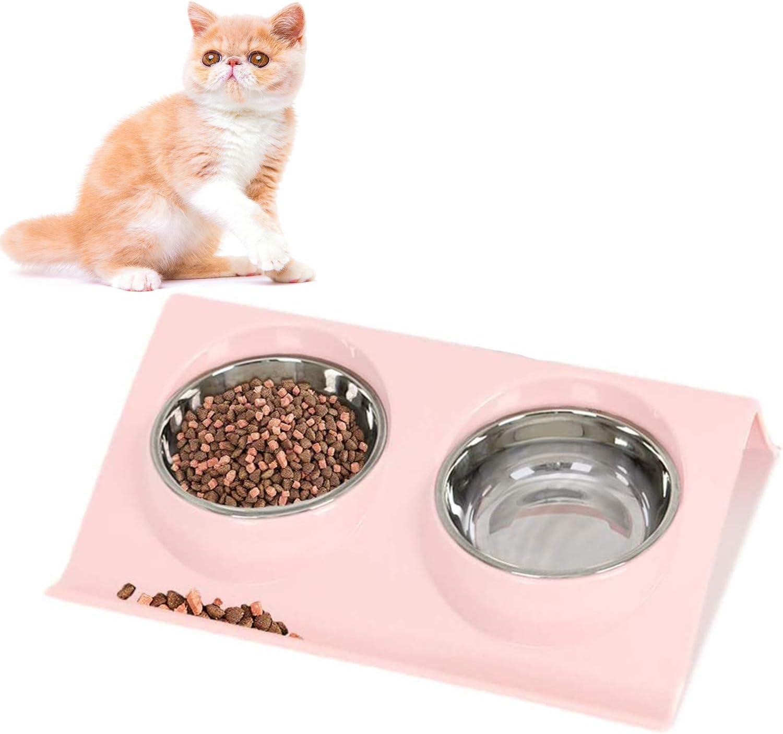 LKMING TazóN Doble para Comida, TazóN para Perros, Comedero para Animales de Acero Inoxidable para Gatos, TazóN Antideslizante, Comida para Mascotas Y Suministro de Agua (Rosa)