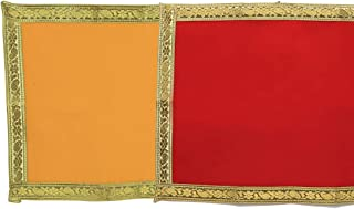 Red and Yellow Velvet Pooja Cloth Mat Aasan Decorative Cloth Set of 2 (Size:-12 Inches X 20 Inches,) for Multipurpose Pooj...