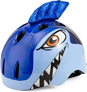 JFF Personaje 3D para ni/ños y ni/ños Bicicleta Casco Patinaje Dibujos Animados Medio Casco Bicicleta,Blue