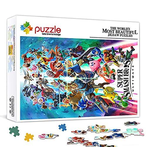 Mini Rompecabezas de 1000 Piezas para Adultos Super Smash Bros.Ultimate Game Box Art Puzzle en cartón, Juego de Rompecabezas de Juguete Decoraciones hogar