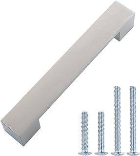 AmazonBasics - Tirador moderno y corto para armario 162 cm de longitud (127 cm de centro del orificio) Níquel satinado...