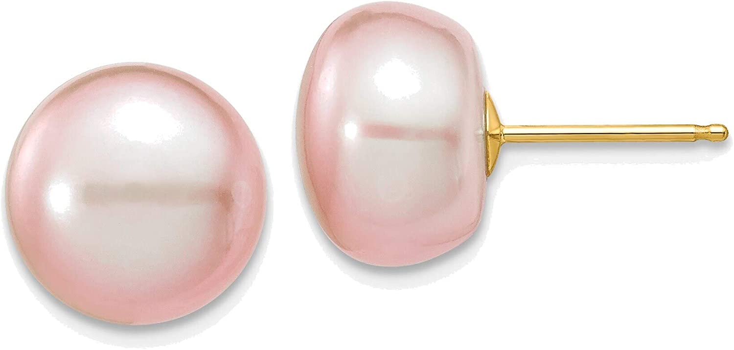 10-11mm Purple Button Freshwater Cultured Pearl Stud Post Earrings in 14K Yellow Gold