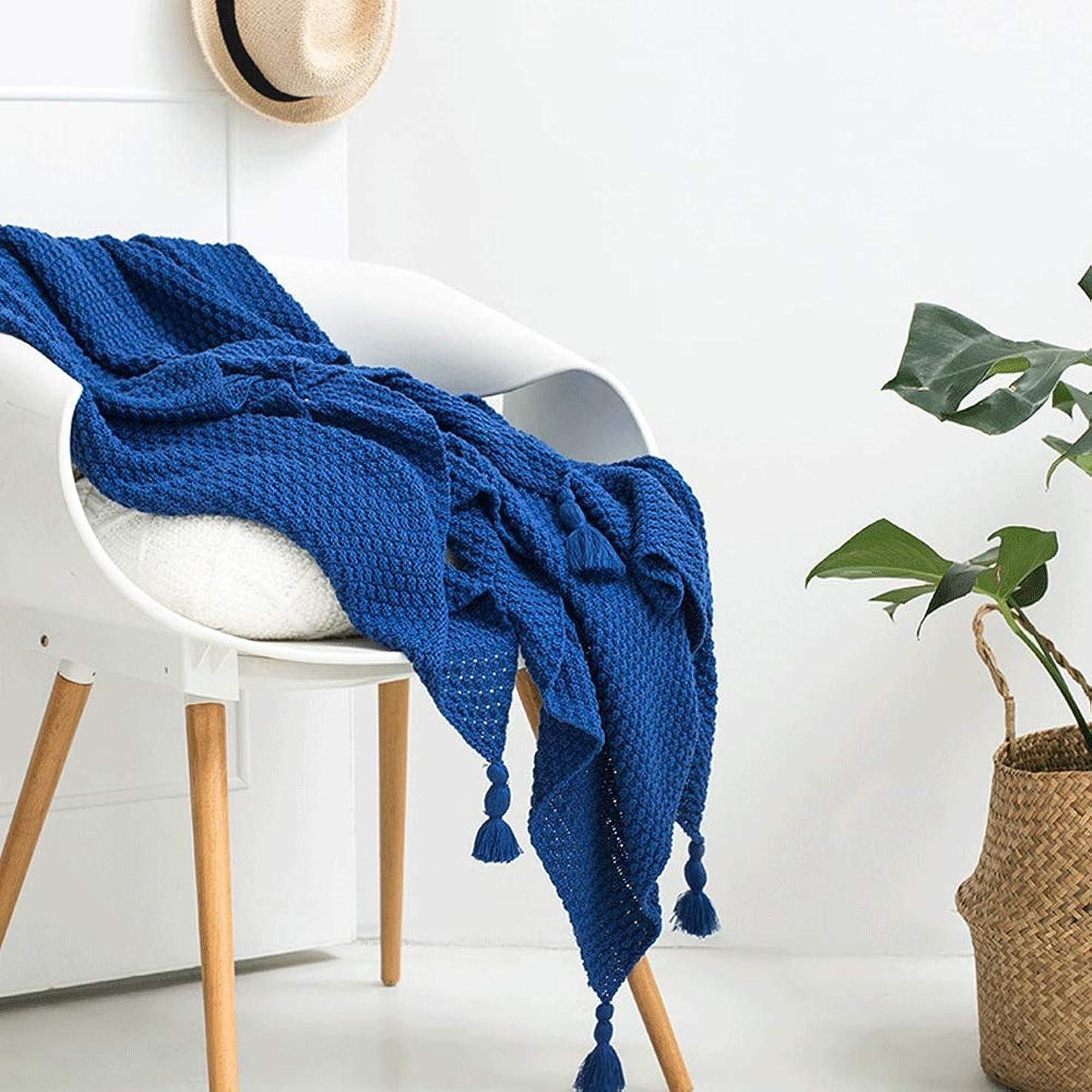 シャーロットブロンテ許さないジョブソフトカウチ毛布 カジュアルニットタッセル投球毛布多機能毛布オフィス昼寝毛布 ルームベッドルームビーチトラベル (Color : Blue, Size : 130cmx170cm)