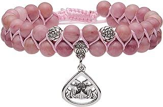 e02c52a7b2 JOVIVI 6mm-Bracelet en Pierre Naturelle Améthyste Quartz Rose Rhodochrosite  Perles d'Energie Pierre