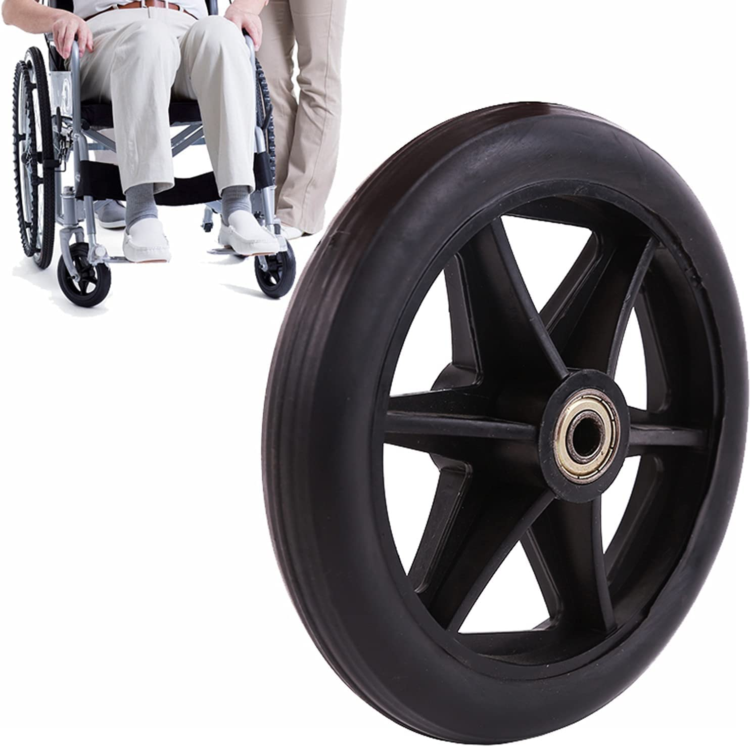 ASDFGHJ Black Solid Wheelchair Caster, Thick and Wear-Resistant