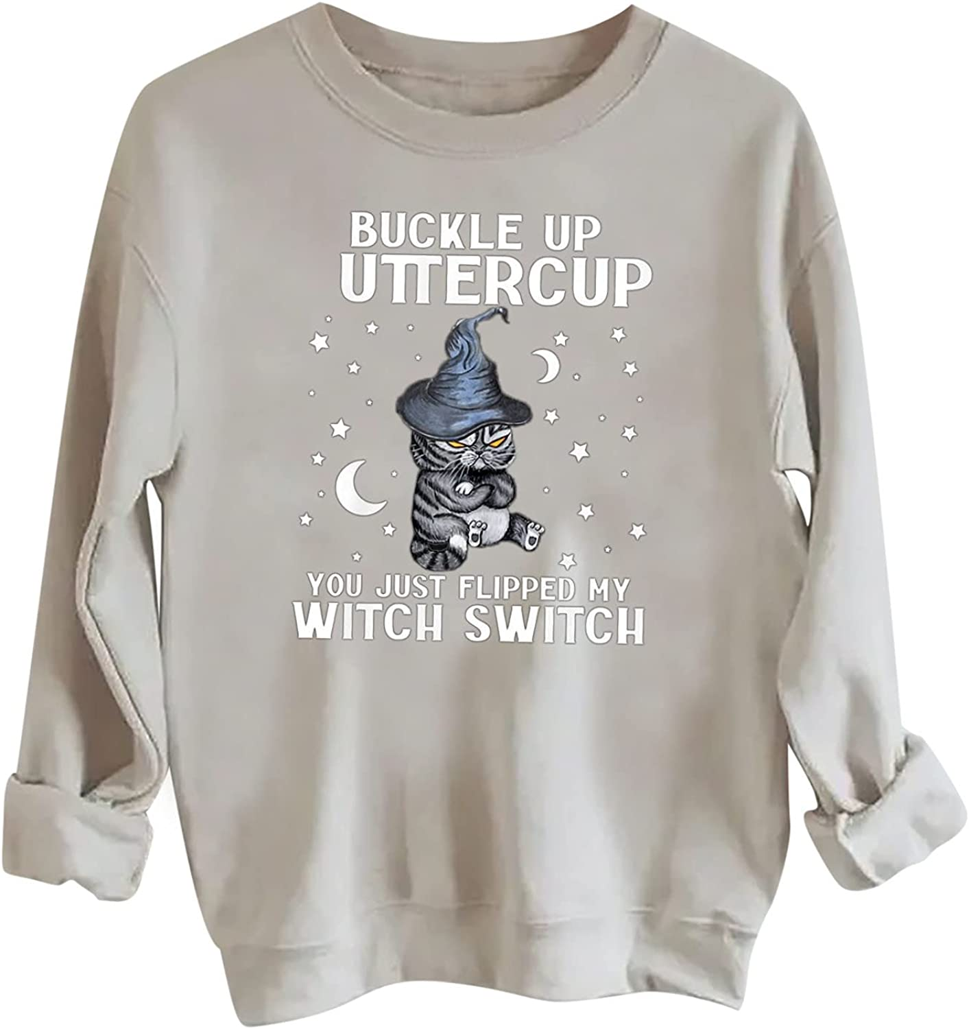 Women Halloween Sweatshirts Plus Size Fall Tops Crewneck Happy Witch Long Sleeve Pullover Shirts Casual Tunic Blouse