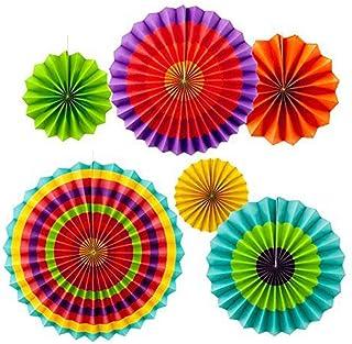 MINGZE 6pcs Colores Vibrantes Que cuelgan los Ventiladores de Papel, Colgante Abanico Colgando decoración Fiesta de Navidad Carnaval cumpleaños Boda, diámetro 20cm los 30cm los 40cm Diversos tamaños