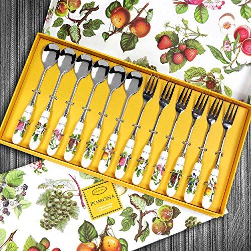 Portmeirion Department Pomona Pastry Fork + Teaspoon Set 12