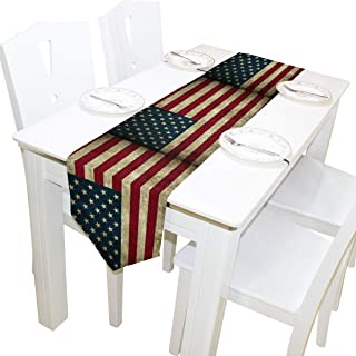 AUUXVA 13x70 inches Long Table Runner Vintage USA American Flag Pattern Decorative Polyester Table Runners Tablelcoth for Home Coffee Kitchen Dining Table Party Banquet Holiday Decoration