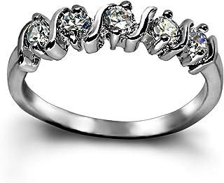 KZZENKI خاتم مكعبة مطلي بالذهب الأبيض زركونيا قابل للتكديس للنساء، خواتم الإصبع الجمال، حجم القمر الهلال