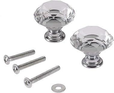 2pcs 30mm Diamond Crystal Glass Knob for Closet Cabinet Drawer Kitchen Dresser Cupboard Wardrobe,3 Size Screws,Clear