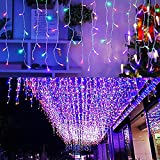 LED Dangling Icicle Lights, LONJY 13FT 96 LEDs 8 Modes Twinkle Christmas Plug in Hanging Ceiling Fairy String Curtain Lights for Bar Mall Patio Yard Indoor Outdoor Decoration(Multicolor, 4M)