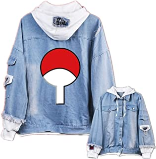 GO2COSY Anime Naruto Cosplay Uchiha Sasuke Jacket Sweatshirt Denim Fleeces Costume Hoodie