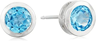 Sterling Silver Genuine and Created Gemstone 5mm Bezel...