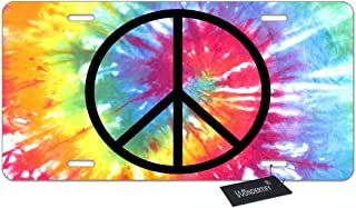 WONDERTIFY License Plate Peace Sign Tie Dye Pattern Decorative Car Front License Plate,Vanity Tag,Metal Car Plate,Aluminum Novelty License Plate for Men/Women/Boy/Girls Car,6 X 12 Inch (4 Holes)