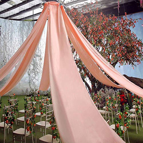 """AK TRADING CO. 120"""" Wide (10Ft Wide) Voile Ceiling Drapes Sheer Curtain Panels with 4"""" Pocket for Wedding Venues, Banquet Halls, Corporate Events & Photobooth - Blush, 10 ft x 10 ft"""