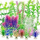 YMHPRIDE 22 Piezas de Plantas de plástico para Acuario, Plantas acuáticas Artificiales, Plantas hidropónicas de simulación, Plantas acuáticas Falsas, decoración de Acuario