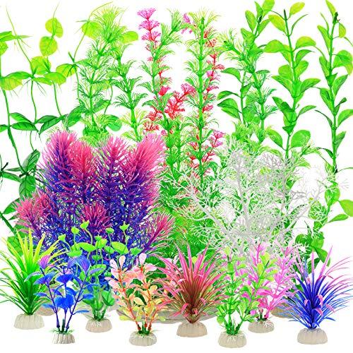 YMHPRIDE 22PCS Aquarium plastikpflanzen, große künstliche Wasserpflanzen, Aquarium Aquarium Vivid Simulation Hydroponikpflanzen, lebensechte gefälschte Wasserpflanzen Aquariumdekoration (Mehrfarbig)