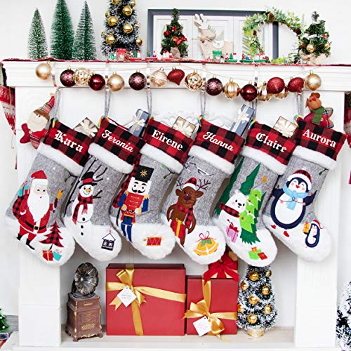 Beyond Your Thoughts 2020 Nikolausstiefel mit Name Personalisiert Nikolausstiefel zum Befüllen und Aufhängen Weihnachtsstrumpf Kamin Christmas Stocking Groß Deko Ideale Weihnachtsdekoration