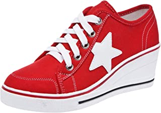 Padgene Women's Canvas High-Heeled Shoes Lace Up Fashion Sneakers Platform Wedges Pump Shoes