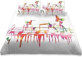 ZORMIEY Ropa de Cama - Juego de Funda nórdica,Obra Colorida Notas Musicales Clef Compositor Orquesta Decorativo Clásico,Juego de Funda de Almohada con Funda de Colcha de Fibra extrafina Multicolor