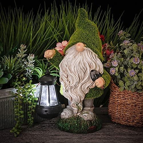 Garden Gardens Gartendeko Figuras con linterna LED solar, divertido Figura a prueba de intemperie Estatua Solar Luz de resina 10.7in Figura de jardín para casa, decoración de Hof, Terraza,Garten,E