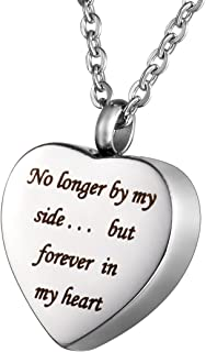 HOUSWEETY Stainless Steel Engraved Urn Pendant Necklace - Memorial Ash Keepsake - Cremation Jewelry (Non-Engraving)