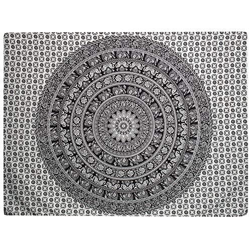 Indischer Überwurf von Indus Lifespace im Hippie-Stil, Überwurf im Bohemian-Stil, 100 % Baumwolle, 215 x 139 cm