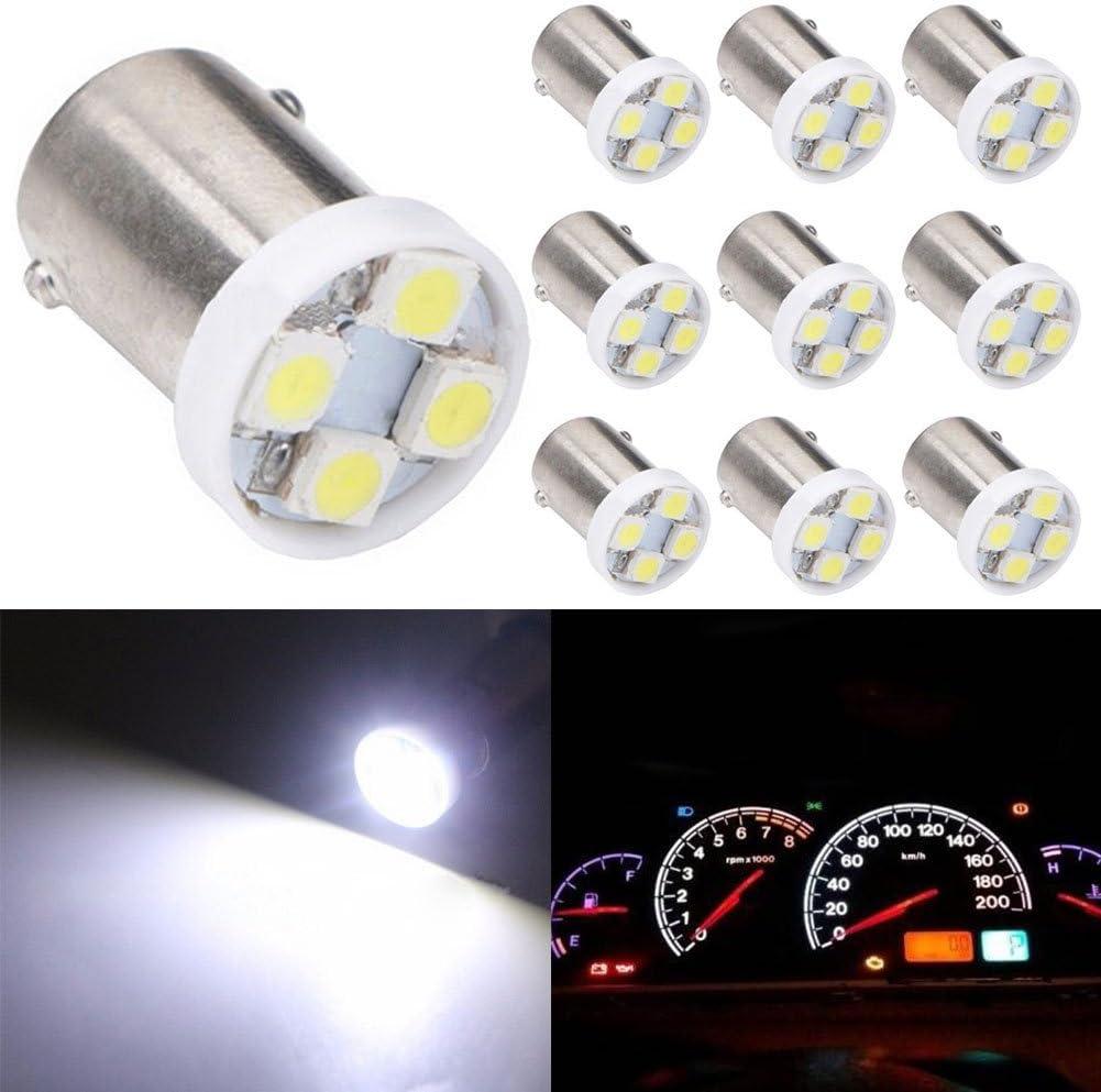 2 bombillas LED BA9S superbrillantes 8000 K blanco 1210-4SMD BA9 53 57 1895 64111 para puerta lateral TABEN luces de cortes/ía de mapa