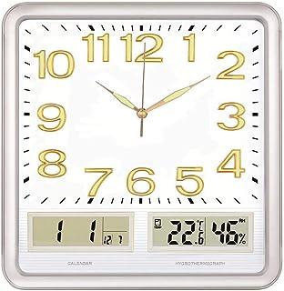 """Wall Clock 14""""ليلة ضوء وظيفة الخشب الحبوب ساعة الحائط ساعة داخلي مكتب المنزل كتم بطارية غير تداعج بالطاقة (مربع) Wall Cloc..."""