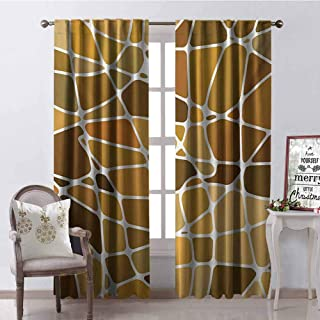 GloriaJohnson Tan and Brown 99% Blackout Curtains Stained Glass Style Mosaic with Colorful and Abstract Pieces Fractal Pattern for Bedroom Kindergarten Living Room W42 x L90 Inch Multicolor