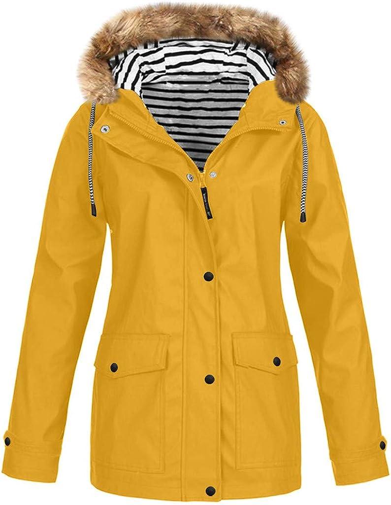 Winter Rain Jackets Waterproof Windbreaker Women, NRUTUP Fleeced Raincoat Warm Outdoor Jacket Thickened Rain Coat
