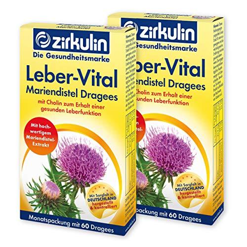 Zirkulin Leber-Vital Mariendistel Dragees, mit hochwertigem Mariendistel-Extrakt zum Schutz der Leber, Cholin zum Erhalt der wichtigen Entgiftungsfunktion, 1 x Monatspackung mit 2x60 Dragees