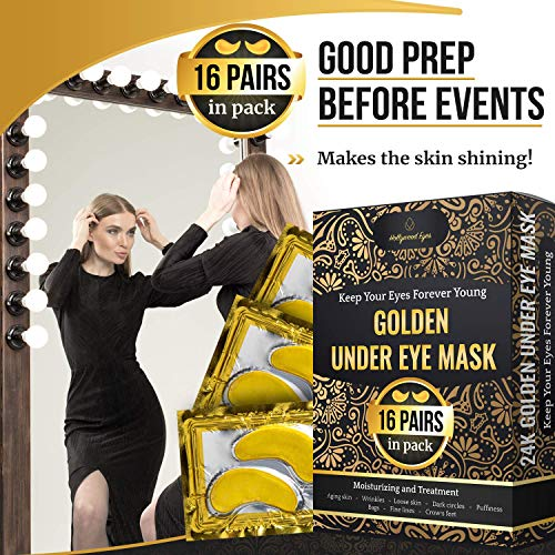 61Y3FXkWMIL - Under Eye Patches, 24K Gold Collagen Eye Mask, Dark Circles and Wrinkles Treatment, Anti-aging, Gel Pads for Puffiness and Bags, Immune System Support for Eyes, With Hyaluronic Acid, Deep Moisturizing