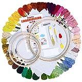 BangShou Punto de Cruz Kit 50 Hilos de Color, Bastidores,Telas de Punto de Cruz, Agujas y Accesorios Herramienta de Coser Manualidades Kit (Conjunto de bordado con 50 Hilos de Color)