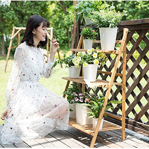 m·kvfa 3-Tier Bamboo Plant Stand, Flower Display Planter Rack Plants Pots Holder Folding Shelving Organizer Storage Shelves