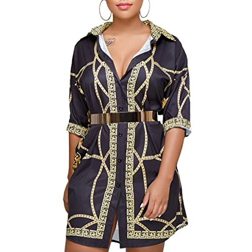 b2dbdfcde98 QUEENIE VISCONTI Womens African Print Dresses Summer Gold Button Down 3 4  Sleeves Casual Shirt