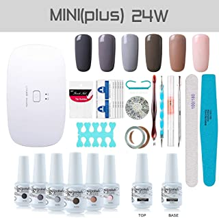 Gel Nail Polish Starter Kit, with 24W SunMini Plus UV LED Nail Dryer Manicure Tools, 6 Classic Gel polish Set Top and Base Coat, Portable Kit for Travel by Vishine #14