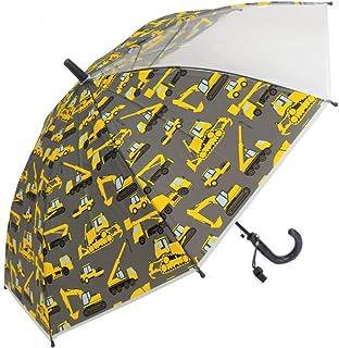 子供が喜ぶ楽しい笛付きキッズ傘 重機柄 50㎝ 折れにくいグラスファイバー骨使用 安心設計ジャンプタイプ 視界良好透明窓 軽量 安全 防犯にもOK 働く車