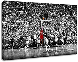BPAGO Michael Jordan Basketball Sports Poster Print Poster Old Photo Large Wall Art Canvas Paintings Office Decoration Stretched Ready to Hang 24 x 16 inch