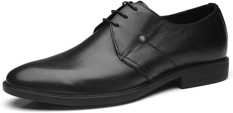 HGDR herr herr herr svart Pointed Toe läder Lace Uppe Derby Oxford skor Business Dress bröllop Office Evening Party skor  billigaste priset