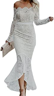 MU2M Women Fishtail Off The Shoulder Long Sleeve Backless Evening Party Midi Dress