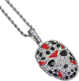 Hip Hop Jewelry Crystal Painted Face Pendan Iced Out Chinese Style Necklace Gifts
