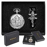 Retro Silver Quartz Pocket Watch Men Fashion Japanese Anime Full Metal Alchemist Necklace Fob Watches Kid Gift for Clock