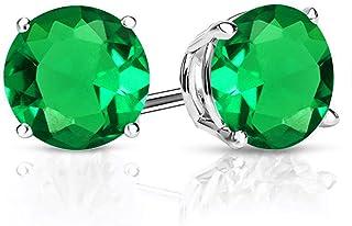 Earrings Clous Silver Chip Irregulier Green Emerald