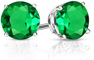 Gem Stone King 925 Sterling Silver Green Simulated Emerald Stud Earrings For Women 2.44 Cttw Round 7MM