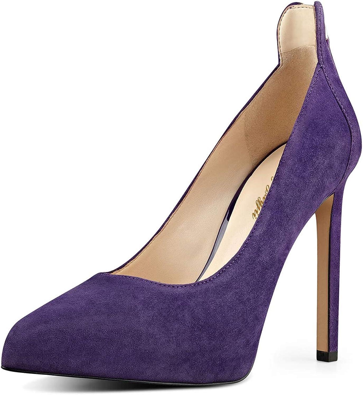 NJ Women Elegant Closed Round Toe Stiletto High Heels Evening Dress Pumps Comfort Slip On Suede Party shoes Back Zip