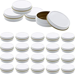 Mimi Pack 24 Pack Tins 1 oz Shallow Round Tins with Solid Slip Lids Empty Tin Containers Cosmetics Tins Party Favors Tins and Food Storage Containers (White)