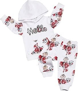 Oklan Newborn Baby Girl Outfits Rainbows Smile Hoodie Sweatshirt with Rainbows Printing Pants