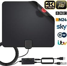 Antena Interior TV, Antena de TV Digital HD para Interiores, Antena de TV de Alcance de 180KM con Amplificador de Señal,Gratuita con Cable Coaxial de 5M, 4K 1080P, Antena de TV más Potente (Estilo-1)